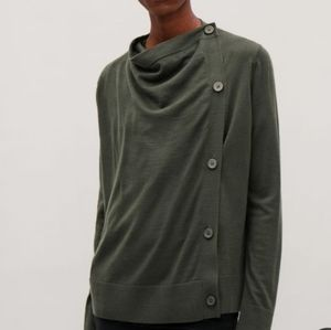 COS Draped merino-wool cardigan in Forest Green
